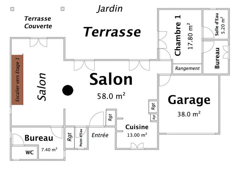 Rez de Chaussée Zoom (Habitation principale)