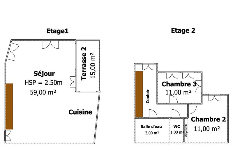 plan étages 2 et 3 Zoom