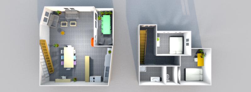 plan 3D étages 2 et 3